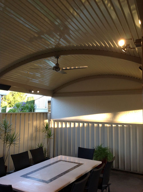 Curved Roof Verandah With Lighting Fans And Heaters In
