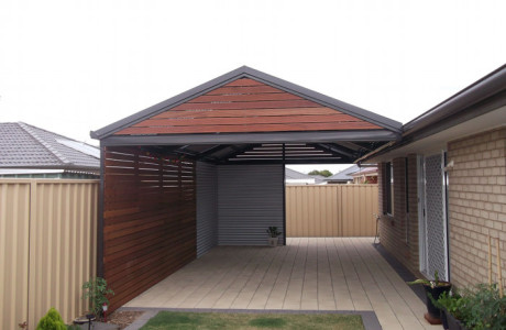 Multispan Gable Verandah with timber infills and currgated cladding