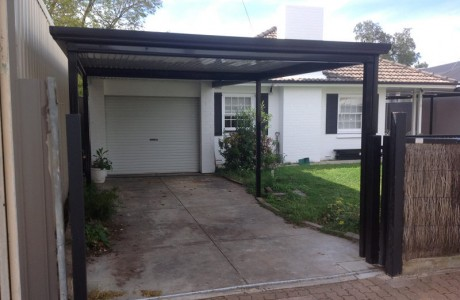 Flat outback carport , alpine colour roofing with night sky frame work