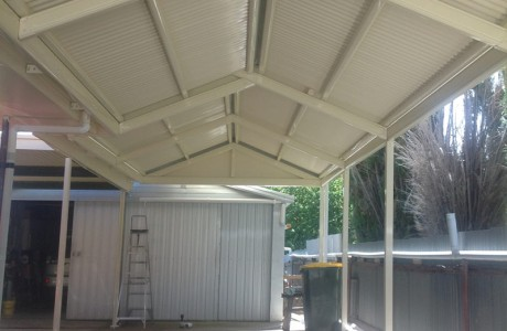 Multispan Gable Verandah with Corrugated Iron Roofing