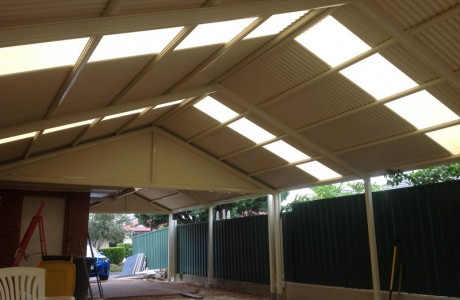 Heritage gable verandah with corrugated roofing blended with laser light sheets