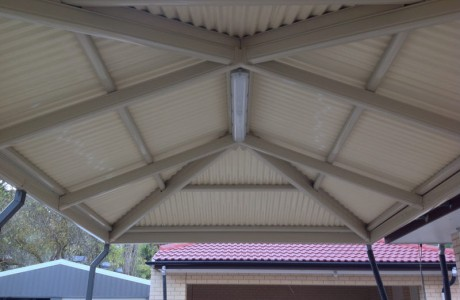 Outback hip end attached gable carport