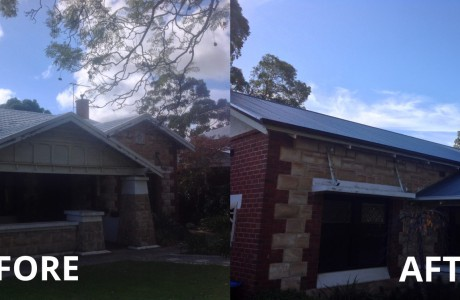 Before after roof restoration